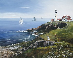 Sally Caldwell Fisher-Portland Head Lighthouse, Limited Edition Canvas