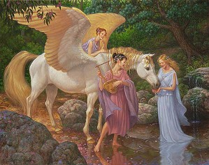 Scott Gustafson-Pegasus And The Muses Limited Edition Canvas