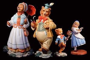 Scott Gustafson-Goldilocks and the Three Bears Porcelain Figurine