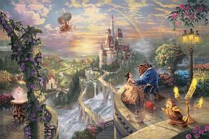 Thomas Kinkade Disney-Beauty and the Beast Falling in Love
