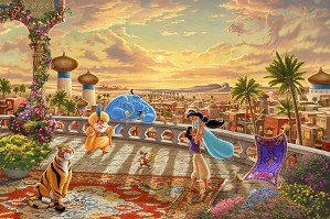Thomas Kinkade Disney-Jasmine - Dancing In The Desert Sunset