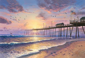 Thomas Kinkade-Footprints in the Sand - Pismo pier