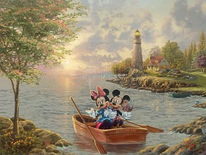 Thomas Kinkade Disney-Mickey And Minnie – Lighthouse Cove
