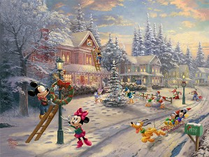 Thomas Kinkade Disney-Mickey's Victorian Christmas