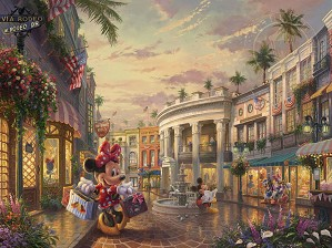 Thomas Kinkade Disney-Minnie Rocks the Dots On Rodeo Drive
