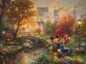 Thomas Kinkade Disney-Mickey and Minnie - Sweetheart Central Park