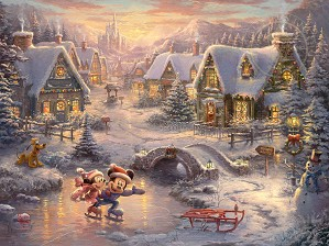 Thomas Kinkade Disney-Mickey and Minnie - Sweetheart Holiday