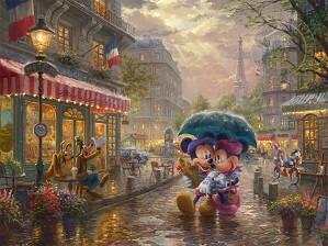 Thomas Kinkade Disney-Mickey & Minnie In Paris