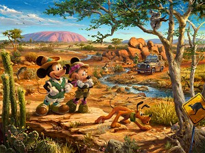 Thomas Kinkade Disney-Mickey & Minnie In The Outback