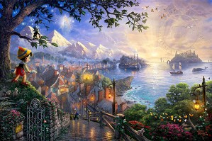Thomas Kinkade Disney-Pinocchio Wishes Upon A Star