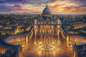 Thomas Kinkade-Vatican Sunset