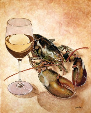 Will Bullas-White Wine And Tails... Limited Edition Canvas