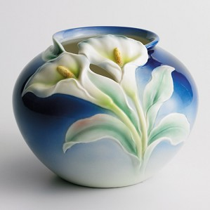 Franz Porcelain-Double Calla Lily Collection Round Vase