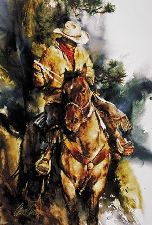Chris  Owen-A Cowboys Morning By Chris Owen Giclee On Canvas  Signed & Numbered