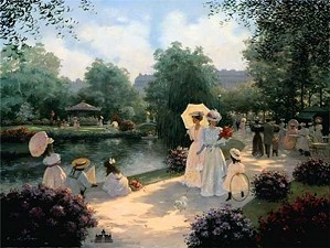Christa Kieffer-A Stroll In The Park By Christa Kieffer Canvas  Signed & Numbered