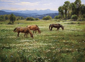 Robert Peters-Amid Summer Blooms By Robert Peters Giclee On Canvas  Signed & Numbered