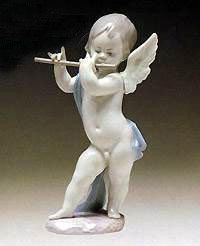 Lladro-Angel With Flute