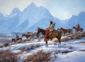 Martin Grelle-Apsaalooke Horse Hunters By Martin Grelle Giclee On Canvas  Signed & Numbered
