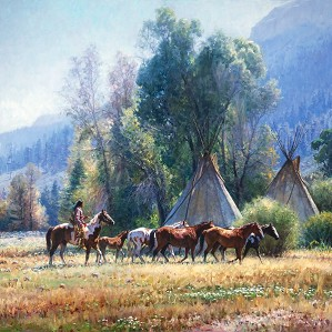 Martin Grelle-Back From The River By Martin Grelle Giclee On Canvas  Signed & Numbered