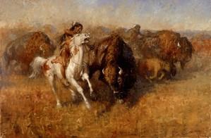 Andy Thomas-Buffalo Hunt By Andy Thomas Print  Artist Proof