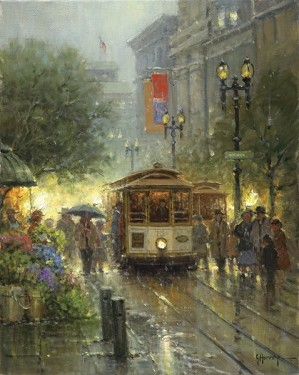 G Harvey-Cable Cars On Powell Street