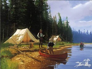 James Brett Smith-Camp Fishermen By Brett James Smith Print  Signed & Numbered
