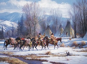 Martin Grelle-Camp Meat And Mules By Martin Grelle Giclee On Canvas  Grande Edition