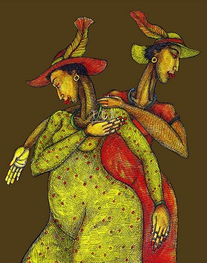 Charles Bibbs-Feathered Hats Giclee