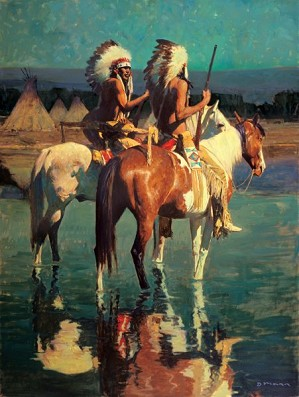 David Mann-Cheyenne Camp By David Mann Giclee On Canvas  Artist Proof