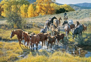 Tim  Cox-Crossing The Creek By Tim Cox Giclee On Canvas  Artist Proof