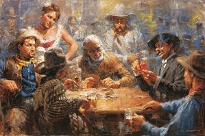 Andy Thomas-Draw Poker By Andy Thomas Giclee On Canvas  Signed & Numbered