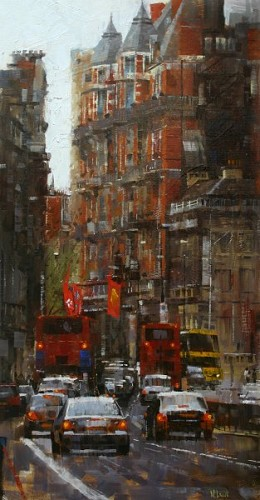 Mark Lague-High Kensington Street By Mark Lague Giclee On Canvas  Signed & Numbered