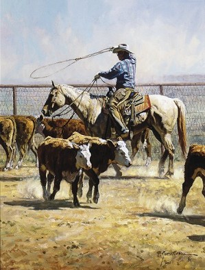 Martin Grelle-In The Texas Dust By Martin Grelle Giclee On Canvas  Signed & Numbered