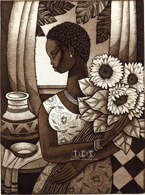 Keith Mallett-Sunflower Etching