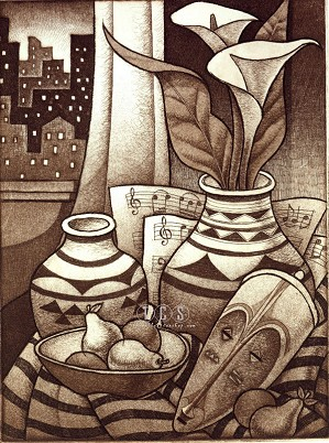 Keith Mallett-Sunset Etching