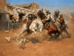 Andy Thomas-Leaving Old Mexico By Andy Thomas Giclee On Paper  Signed & Numbered