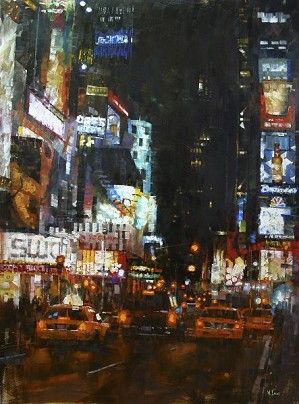 Mark Lague-Manhattan Traffic By Mark Lague Giclee On Canvas  Signed & Numbered