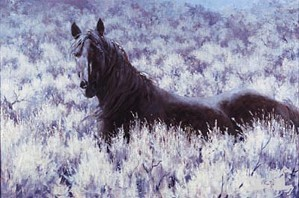 Jim  Rey-Mustang In The Sage By Jim Rey Canvas  Signed & Numbered
