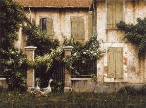 George Hallmark-Nosey Neighbors By George Hallmark  Full Image Giclee On Canvas  Artist Proof
