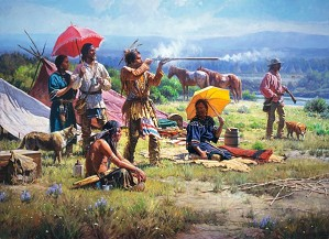 Martin Grelle-Parasols And Black Powder By Martin Grelle Giclee On Canvas  Signed & Numbered