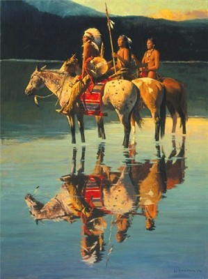 David Mann-Peace On Blue Lake By David Mann Giclee On Canvas  Signed & Numbered
