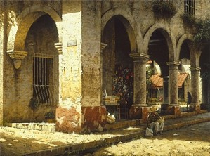 George Hallmark-Plaza Del Mercado By George Hallmark Giclee On Canvas  Artist Proof