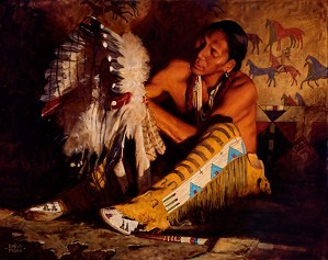 David Mann-Red Feathers By David Mann Giclee On Canvas  Grande Edition