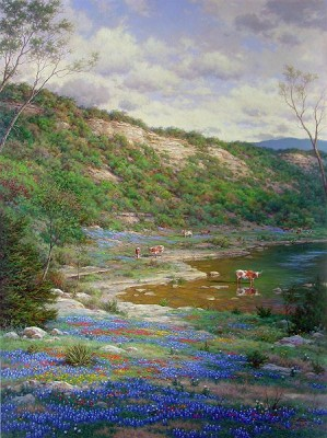 Larry Dyke-Texas Spring By Larry Dyke Giclee On Canvas  Signed & Numbered