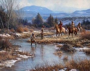 Martin Grelle-Trappers In The Wind Rivers By Martin Grelle Giclee On Canvas  Signed & Numbered
