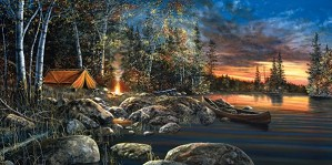 Jim Hansel-Twilight Fire By Jim Hansel Giclee On Canvas  Signed & Numbered