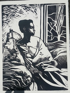 William Tolliver-Etching Contemplation Artist Signed