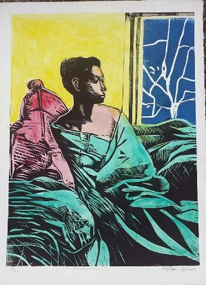 William Tolliver-Contemplation Hand colored woodcut Artist Signed