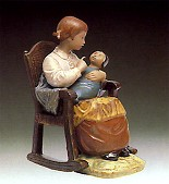 Lladro-Girl In Rocking Chair 1978-81