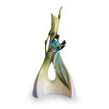 Franz Porcelain-Bamboo Song Bird triangle vase